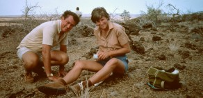 Richard and Meave Leakey, in the field near Lake Turkana, in the 1980s.